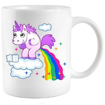 Unicorn Pooping Rainbow Coffee Mug