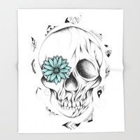 Poetic Wooden Skull Throw Blanket by LouJah