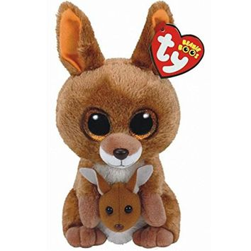 "Pyoopeo Original 6"" 15cm Ty Beanie Boos KIPPER the Brown Kangaroo Plush Stuffed Animal Collectible Big Eyes Doll Toy"