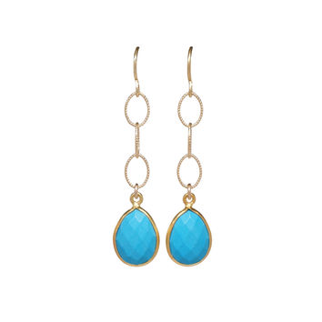 Gold Turquoise Teardrop Dangle Earrings