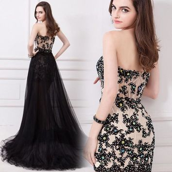 Long prom dress 2017 new hot sweetheart sexy fashion two to wear removable black short tail Long evening dress custom size