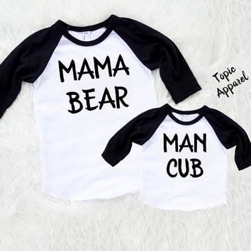 MAMA BEAR MAN cub set - mommy and son set - 3/4 baseball style shirts