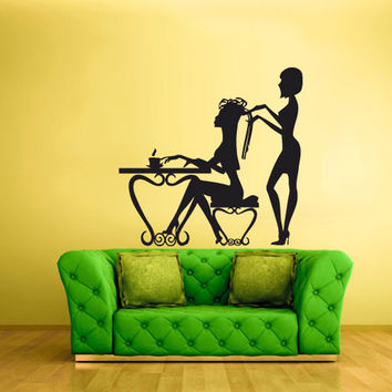 rvz1689 Wall Decal Vinyl Sticker Girls Table Maniqure Make up Fashion Salon Hair