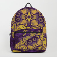 mandala 7 yellow purple #mandala Backpacks by Lionmixart