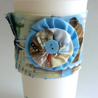 Cupcakes Coffee Cup Cozy / Vintage Inspired Drink Sleeve / Cupcake Stand / Retro / Bakery / Confections / Confectionery