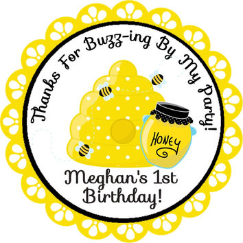 "Bumble Bee Birthday Party Stickers - 2.5"" Round"