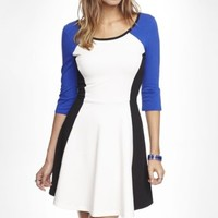 THREE QUARTER SLEEVE COLOR BLOCK SKATER DRESS