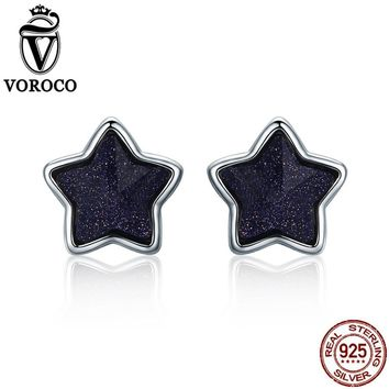 VOROCO 2017 pure 925 Sterling Silver Star Sky Aventurine Blue Goldstone Energy Lucky Stud Earrings For Women Fine Jewelry VSE057