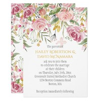 Powder Pink Blush Gold Greenery Floral Wedding Card