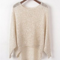 High Low Beige Jumpers with Sequin Embellishment