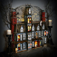 Add some magic to your holiday with our  hand crafted Halloween Advent Calendar house.  This spooky Victorian mansion is sure to amaze you.