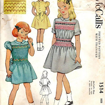 McCall's 1940s Sewing Pattern 1514 Girls Holiday Party Dress Smocked Detail Back Button Puff Sleeve Tea Dress Size 6