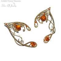 Golden Honey Yavanna Elf Ears, LOTR Elf Ears, elf ear cuff, elf ear wrap, Cosplay jewelry