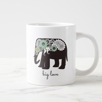 Paisley Elephant Elegant Cute Animal Love Custom Giant Coffee Mug