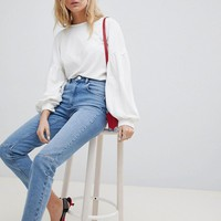 ASOS DESIGN Farleigh High Waist Slim Mom Jeans In Stephanie Mid Wash With Front Knee Seam Detail at asos.com