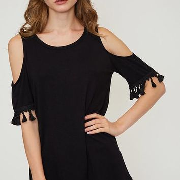 Tassel Cold Shoulder Top - Black