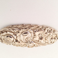 Kirk Stieff Sterling Silver Repousse Oval Brooch - embossed chased floral flowers silver lovely signed brooch