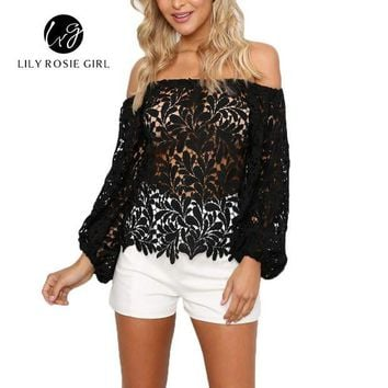 DCCKU62 2016 Black Sexy Club Off Shoulder Hollow Out Women Blouses Summer Beach Style Long Sleeve Party Girls Blusas Shirts Tops