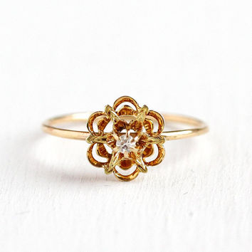 Flower Diamond Ring - Vintage Antique 14k Yellow Gold Starburst - Size 8 Edwardian Early 1900s Fine Stick Pin Conversion Floral Jewelry