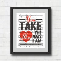 "You Take Me the Way I Am Art Print - 8x10"" Ingrid Michaelson Song Lyrics on Sheet Music Wall Art Print - The way I am."
