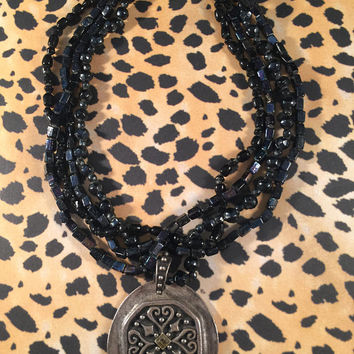 Vintage Chico's Necklace, 4-Strand, Black And Silver, Vintage Jewelry, Large Medallion, Pendant Necklace