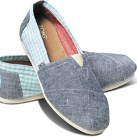 TOMS Blue Seersucker Women's Classics Slip-on Shoes ,