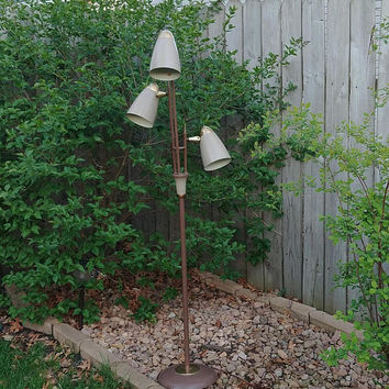 Atomic Mid Century Taupe Modern Floor Lamp with Bullet Shades