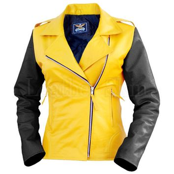 Women Yellow Quilted Leather Jacket