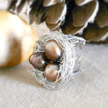 Nature Inspired Woodland Bird's Nest Ring with Brown Freshwater Pearls