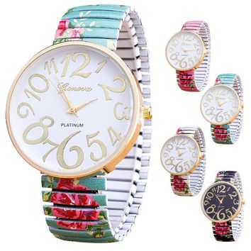 Ladies Stretch Band Floral Watch