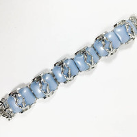 Blue Thermoset Chunky Link Bracelet Silver Tone Vintage Lucite Links Vintage 1950s 1960s Jewelry