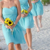 Short Tiffany Blue  Bridesmaid Dresses -Reserved Link for Taylor's Wedding Sept 12th - Style BM102 & BM990
