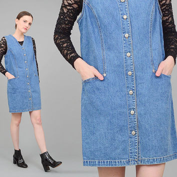 90s Denim Dress Button Up Sleeveless Jumper 1990s Grunge GAP Mini Dress Medium M