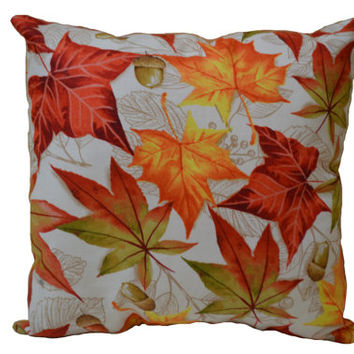 Colorful Leaf Pillow, Acorn Pillow, Autumn Pillow, Fall Decor, Shelf Sitter, Gift for Her, Accent Pillow, Home Decor, Leaves