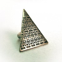 Vintage Silver Geo Triangle Etched .. on Luulla