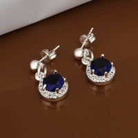 Gorgeous silver plated earings jewelry Inlaid Blue Stone drop cufflinks sport