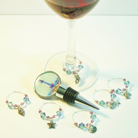 Holiday Gift, Special Serving Set, READY TO SHIP, Wine Bottle Stopper, Glass Charms, Unique Gift, Party Fun, Hostess Gift