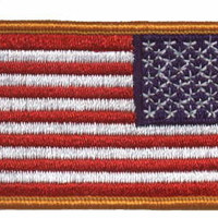 American Flag Patch (Reverse Design) - Gold Border