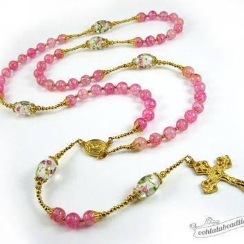 Pink Agate rosary gold rosaries confirmation rosary catholic gift communion rosary traditional rosaries christening gift rose rosary pink