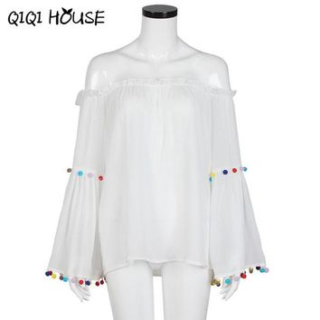 Chiffon Blouse Sexy Off Shoulder Tops Tassel Colorful Long Sleeve Flare Loose Solid White Blouse Camisa Jeans Feminino#C823