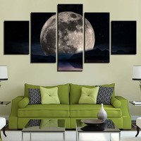 Canvas Paintings Home Decor 5 Pieces Romantic Moon Night Nature Landscape Poster Room Wall Art HD Prints Lake Pictures Framework