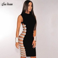 2017 summer new Women fashion hollow out diamonds dress blue black pink Sleeveless Lady Evening Party Bodycon runway Dresses