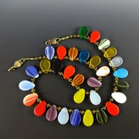 Vintage African Petal Wedding Bead Necklace, Brass, Czech Glass