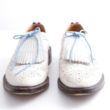 "White Leather Wingtip ""Tassel"" Lace-Up Brogues size:11.5"