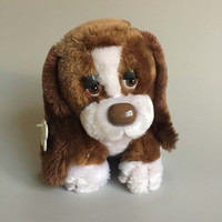 STUFFED BASSET HOUND,Vintage stuffed dog, Baxter the Bashful Basset, Vintage Russ Berrie plush dog, plush Basset hound,brown and white dog