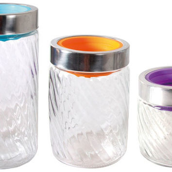 3 Piece Glass Canister Set With Silicone Lids Case Pack 4
