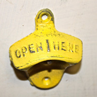 Bright Yellow Bottle Opener /Yellow /Cast Iron /Vintage by AquaXpressions