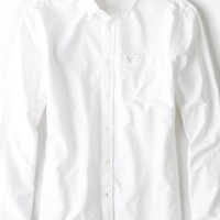 AEO Men's Slim Solid Oxford Button Down Shirt (White)