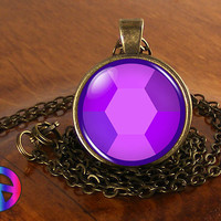 Steven Universe Amethyst Gem Necklace Cosplay Glass Photo Pendant Jewelry Gift