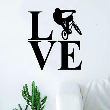 Love BMX Biker Silhouette Sports Decal Sticker Wall Vinyl Art Home Decor Teen Nursery